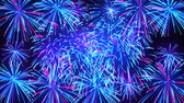 Colorful fireworks in the night sky with stars. Bright fireworks on a dark blue background. Beautiful festive sky for bright design. Animated background, seamless loop Stockvideo