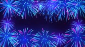 Bright fireworks in the night sky with stars. Colorful fireworks on a dark blue background. Animated background for bright design, seamless loop. Beautiful festive sky Stockvideo