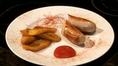 banger : plantain with sausage in restaurant