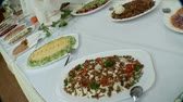 potatoe dishes : nice buffet in restaurant Stock Footage