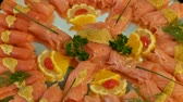 potatoe dishes : Buffet in restaurant Stock Footage