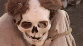 columbian : video fotage of mummys of the Nazca Culture of the old Peru at the Chauchilla Cemetery in Nasca