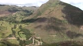 pré histórico : video footage of the Inca Ruins Pisac in the Sacred Valley near Cusco in the Andes of Peru