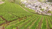 Aerial video footage of a village Dernau in a winegrowing area in germany at the river Ahr