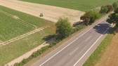 4K Aerial video footage motorbikes on a country road