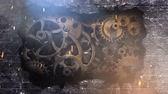 metafora : Brick Wall Explosion Gears 4K Loop features a camera zooming in to a brick wall with the wall then exploding out to reveal grungy metallic gears turning behind the wall
