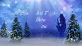 saxophone : Blue Christmas Saxophone Player features a blue silhouette of a female saxophone player with pine trees, lights, and mist for the environment with Blue Christmas animated text message Stock Footage