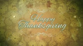 bênção : Thanksgiving Lace 4K loop features flowered lace background with translucent leaves falling toward the viewer with an animated Happy Thanksgiving text in a loop