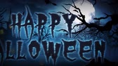 ksi����yc : Happy Halloween Haunted Forest 4K Loop features a scary vector landscape and panning camera that ends with a Happy Halloween text message