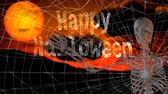 ksi����yc : Happy Halloween Skeleton Wave 4K features the words Happy Halloween written in a spider's web with a skeleton coming into the scene waving at the viewer.