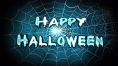 bruto : Happy Halloween Spider Web 4K Loop features a camera flying back through spider webs to reveal an animated Happy Halloween text message
