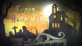 ksi����yc : Haunted Mansion Happy Halloween Watercolor 4K Loop features a haunted mansion with a graveyard and a swinging gate with an animated watercolor Happy Halloween in a loop