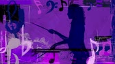 mikrofon : Purple Drummer Girl with Music Notes 4K features the silhouette of a woman standing and playing the drums in a purple grunge atmosphere with music elements and symbols animating in and out of the scene Wideo