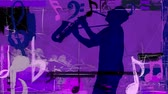 saxophone : Purple Sax with Music Notes 4K features the silhouette of a man playing the saxophone in a purple grunge atmosphere with music elements and symbols animating in and out of the scene
