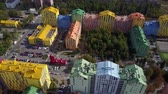 colored block of multistory buildings in Kyiv