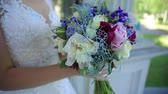 stabilizer, bouquet of wildflowers in the brides hand Stock Footage