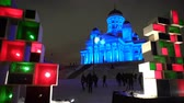 luxo : HELSINKI  FINLAND - FEB 13 2017: Light Show at the Senate Square in Helsinki. Festival of Light Lux Helsinki in 2017. Vídeos