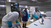 gutting : Working Team In A Seafood Processing Factory. Man sprinkles the spices on the salmon fillet.