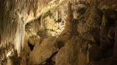 yeraltı : Stalactite stalagmite cave in Mallorca, Spain Stok Video