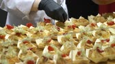 örnekleme : The chefs prepare food samples and treat visitors during the Food Show Stok Video