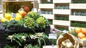 grocer : Fresh organic vegetables on the counter of food shop