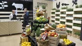 grocer : HELSINKI, FINLAND - MARCH 18,2018: Fresh organic vegetables on the counter during the Show Gastro Helsinki - big trade fair for the hotel, restaurant and catering industry