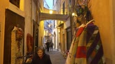 provincie : SANREMO, ITALY - MARCH 29, 2018: A narrow pedestrian street in the old town of Sanremo late at night. Imperia province, Liguria region, Italy