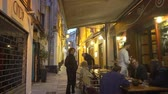 dekarz : SANREMO, ITALY - MARCH 29, 2018: A narrow pedestrian street in the old town of Sanremo late at night. Imperia province, Liguria region, Italy