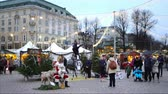 helsinki : HELSINKI, FINLAND - DECEMBER 9, 2017: People on the Christmas Market in the center of City