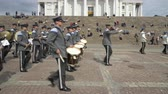 cerimonial : HELSINKI, FINLAND - MAY 18, 2018: The Finnish Defence Force military band performs free public concert and parade in the centre of Helsinki, Senate square Stock Footage