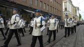 alay : HELSINKI, FINLAND - MAY 18, 2018: The Finnish Defence Force military band performs free public concert and parade in the centre of Helsinki