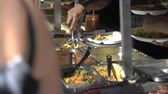 cena urbana : Street vendors sell African food on the street in Helsinki. Stock Footage