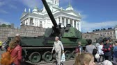 armored : ESPOO, FINLAND - JUNE 04, 2018: Show modern weapons of The Finnish Defence Forces in honour of the 100th anniversary on the Senate square In Helsinki