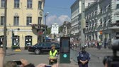 donald trump : HELSINKI, FINLAND - JULY 16, 2018: The motorcade Donald trump on the streets of the city. Meeting trump and Putin in Helsinki. Security measures.