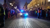 HELSINKI, FINLAND - NOVEMBER 26, 2017: Police on the streets provide security during the Christmas holidays