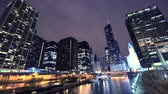 Downtown Chicago und Chicago River Timelapse