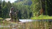 çubuk : Summer Fly Fishing on the Scenic River. Norway, Europe. Slow Motion Footage