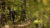 maraton : Running Men in the Forest. Scenic Autumn Forest Path. Slow Motion. Wideo