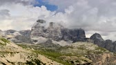 山頂 : Scenic Italian Dolomites Peaks During Stormy Summer Day. Misurina, Italy. Time Lapse Video. 動画素材