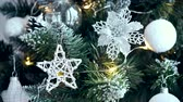 祝う : Elegant Christmas Tree with Many Stylish Ornaments Closeup Video.