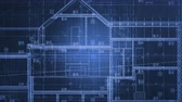 Home Project Blueprints in Motion. Blue Animated Architecture Industry Background. Stockvideo