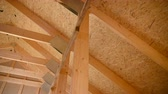 Plywood and Beams Wooden House Residential Construction.