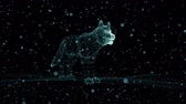 лояльный : Dog of luminous dots in the empty black space. Live Wallpaper with a smooth appearance through the approach and disappearance through a deflation of the individual elements. Стоковые видеозаписи