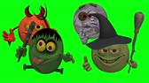 süpürge : Monsters Smiley Guys (Goofy) with Green Screen  --  The Smiley characters are ready for Halloween with this Monster Smiley Guys (Wicked) video with Green Screen background. The four creatures include Devil, Franky Mummy and Witch Stok Video