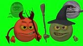 süpürge : Monsters Smiley Guys (Wicked with Entrances) Green Screen  --  The Smiley characters are ready for Halloween with this Monster Smiley Guys (Wicked) video with Green Screen background. The four creatures include Devil, Franky Mummy and Witch