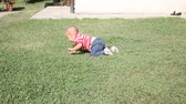 months : Little Child Crawling Outdoor