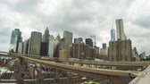 здание : Lower Manhattan View from Brooklyn Bridge, Time Lapse