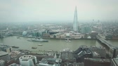 seyahat : Aerial View of London with Tower Bridge and Thames river