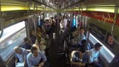 probówki : NEW YORK, USA - AUGUST 28, 2014: New York subway train, time-lapse view with people travelling and getting in and out at every station. Wideo