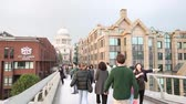 tarihsel : People walking on the Millennium Bridge with St Pauls Cathedral on background